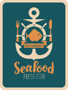 Banner for seafood restaurant with anchor and fish