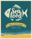 Banner for seafood restaurant or shop with fish