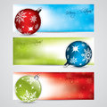 Banner set with christmas decorations various Royalty Free Stock Photography