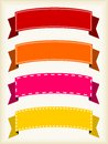 Banner set colorful ribbon banners empty template with copyspace ribbons Stock Images