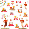 Banner set with football ball, sportsman and goblet. Vector illustration Royalty Free Stock Photo