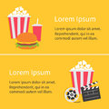 Banner set. Movie reel Open clapper board Popcorn Cinema icon collection. Flat design style. Yellow background. Royalty Free Stock Photo