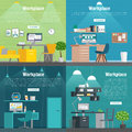 Banner set Office workplace interior design Graphic . Business objects, elements and equipment.