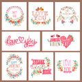 Banner set for Valentine's Day celebration. Royalty Free Stock Photo