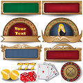 Banner set vector along with casino related icons Royalty Free Stock Images