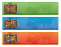 Banner or sign with world traveler suitcase vector illustration of a Royalty Free Stock Image