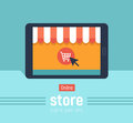 Banner with tablet. Page with online store open on tablet screen. Concept online shopping