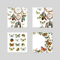 Banner template design with watercolor dream catcher and butterfly. Royalty Free Stock Photo