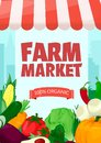 Banner template for farmers market.Eco organic Local shop. Selling fruit and vegetables. Produce stands.Cartoon style vector