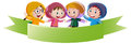 Banner template with kids in raincoat