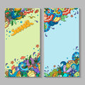 Banner templates set with doodles summer theme Royalty Free Stock Photo