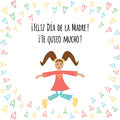 Banner with text Happy Mothers Day in Spanish language with cute jumping girl and hearts Royalty Free Stock Photo