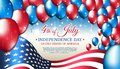 Banner 4th of july usa independence day, vector template american flag, colored balloons on blue starry background. Fourth of july Royalty Free Stock Photo