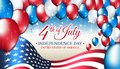 Banner 4th of july usa independence day, vector template with american flag and colored balloons on blue shining starry background Royalty Free Stock Photo