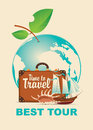 Banner on a tourist theme with planet Earth Royalty Free Stock Photo