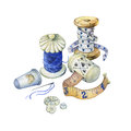 Banner of various hand drawn vintage objects for sewing, handicraft and handmade.