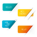 Banner vector elements tucked into paper set of four Stock Photography