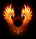Banner with wings phoenix artistically painted round fiery on a black background Royalty Free Stock Photos
