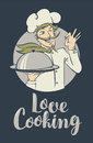 Banner with words Love Cooking and winking chef Royalty Free Stock Photo