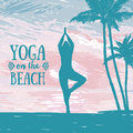 Banner for yoga and meditation practice on the beach