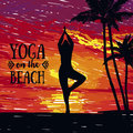 Banner for yoga practice on the beach