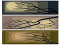 Banners of abstract drawing of a blossoming tree. Stock Image