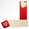 Banners with attached notepaper and heart on white background Royalty Free Stock Image