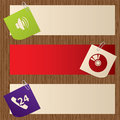 Banners with attached notepapers on wooden background Royalty Free Stock Photography