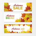 Banners autumn sale vector illustration can be use for web of sales Stock Photos