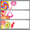 Banners with candies bright Stock Image