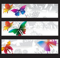 Banners with colorful butterflies Royalty Free Stock Photo