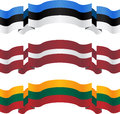 Banners and flags of baltic states vector illustration Royalty Free Stock Images
