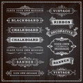 Banners, frames and ribbons, chalkboard style Royalty Free Stock Photo