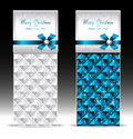Banners or gift card with bow geometric pattern bl for invitation congratulation blue Stock Photography