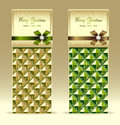 Banners or gift card with bow geometric pattern gr green gold for invitation congratulation Royalty Free Stock Photography