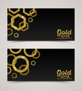 Banners with golden glitter elements Royalty Free Stock Photo