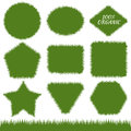 Banners with green grass set of vector backgrounds with irregul irregular border in the form illustration concept organic Stock Images