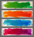 Banners with hand drawn brush strokes bright Stock Photos