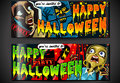 Banners invite for halloween party detailed illustration of a banner with zombie and screaming woman illustration in eps with Royalty Free Stock Photos