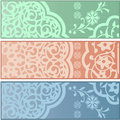 Banners with islamic ornaments vector of different on white background Royalty Free Stock Photo
