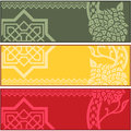 Banners with islamic ornaments vector of different on white background Stock Photos