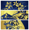 Banners or labels with floral design, vector Royalty Free Stock Photo