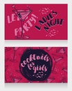 Banners for ladies night party with bright cocktails Royalty Free Stock Photo