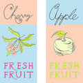 Banners met fruit Stock Foto