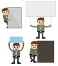 Banners office and business people cartoon character vector illustration concept various characters with advertisement boards Royalty Free Stock Image