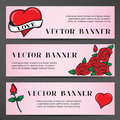 Banners in the old school style for the Wedding Royalty Free Stock Photo