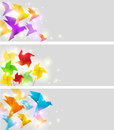 Banners with origami bright vector birds Stock Image