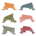 Banners origami vintage colors folded paper in Royalty Free Stock Photo