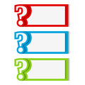 Banners with question mark red blue and green Royalty Free Stock Photos