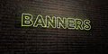 BANNERS -Realistic Neon Sign on Brick Wall background - 3D rendered royalty free stock image